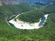 View of Ardeche river from scenic Gorge drive