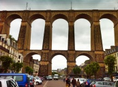 Morlaix with train bridge through middle of town