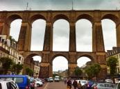 Morlaix with train bridge through middle of town