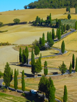 Winding road and cypress trees near Monticchielo