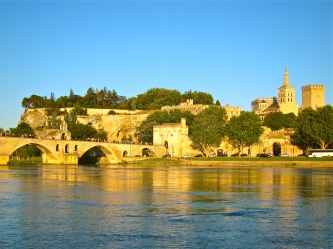 The Rhone river, Saint-Benezet bridge and the Palais des Papes (right)