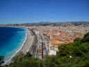 View from hillside next to Nice's promenade