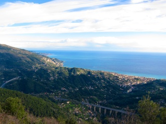 View from St. Agnes of Menton and Italian coast