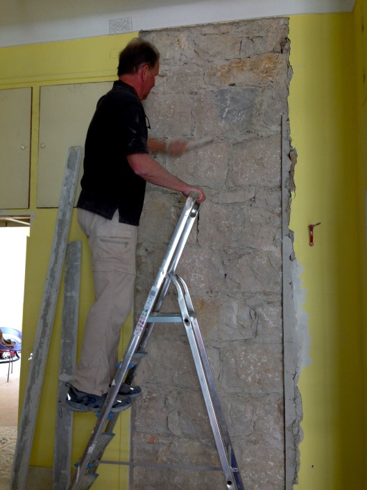Exposing rock supporting columns