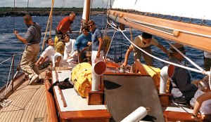 President Kennedy and friends on board the Manitou