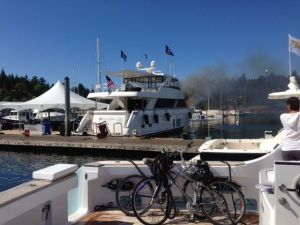 85' new yacht starts on fire at the dock at Roche Harbor