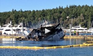 End result of burning ship in Roche Harbor