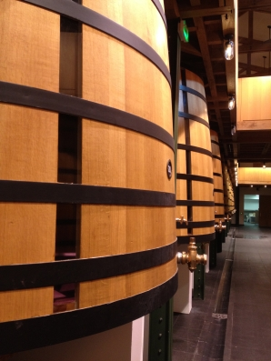 Rothschild oak vats have incorporated plexiglass so one can see in the vats
