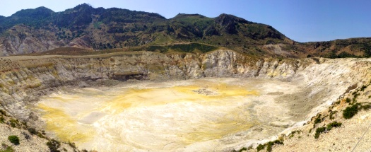 Looking into the volcano crater