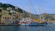 Laundry day on the boat in Symi