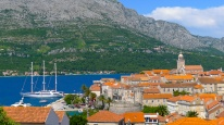 Korcula with mainland in the background