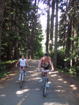 Biking one of the many trails throughout Whistler