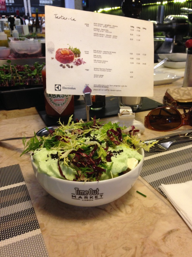 Greek Salad with wasabi foam topping