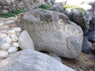 Morgan's name still on a rock